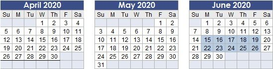 Test Region calendar dates: June 15, 2020 to June 19, 2020; June 22nd, 2020 to June 26th, 2020